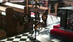 Bespoke Wrought Iron Stand With Church Sword Carrier Inserted